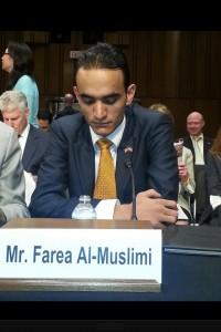 Farea Almuslim, the first Yemeni to testify at the Drone Wars Senate hearing