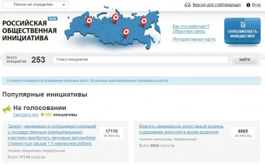 Russian Public Initiative front page. Screenshot, April 13, 2013