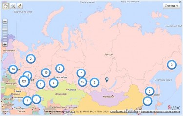 Map from roi.ru website, showing the geographical distribution of petition originators. Screenshot, April 13, 2013.
