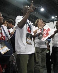 Paul Kasonkomona (with raised hand). Photo courtesy of Zambian Watchdog.