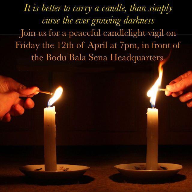 Invitation to the candlelight vigil. Image courtesy Buddhists Questioning Bodu Bala Sena Facebook Page