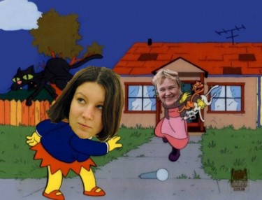 """Cat lady"" foster home caretaker Natalia Sarganova chases reporter Ekaterina Vinokurova after her Twitter indiscretion. Background from YouTube screen capture of Simpsons clip. Remix by author."