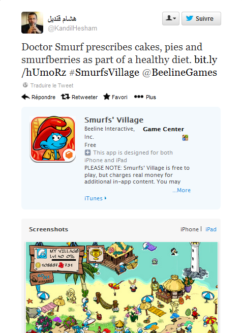 """Doctor Smurf prescribes cakes, pies and smurfberries as part of a healthy diet."" Screenshot from Qandil's tweet"