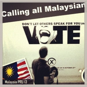 A poster reminding Malaysian citizens to vote. Photo from Flickr page of  niezam sandakan