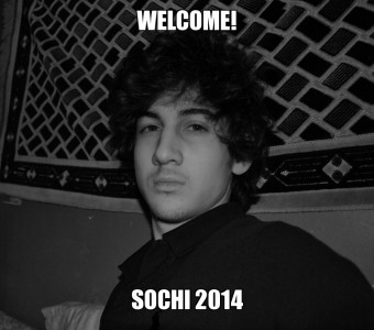 A photograph of Dzhokhar Tsarnaev from his VKontakte page, turned into a meme darkly hinting at the fact that the next Winter Olympics will be held very close  to Chechnya. Anonymous image freely distributed online.