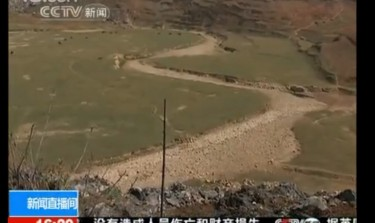 Screen capture of CCTV's report on a dried river in Guizhou.