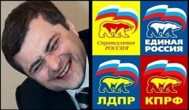 As illustrated by this meme, Surkov is often credited with creating Russia's current party system -- a set of false alternatives to United Russia. Anonymous image widely distributed online.