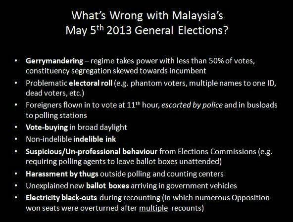 An image being shared amongst Malaysian Facebookers outlining the various acts of electoral fraud