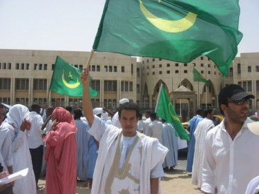 Ahmed at a protest in Nouakchott. From the blogger's Facebook page