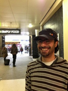 All Smiles. Bahraini blogger Ali Abdulemam arrives at Gatwick Airport in London. Photograph shared on Twitter by @alaashehabi
