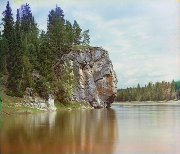 A cliff on the Chusovaya River. One of the color photographs made in 1912 by Prokudin-Gorsky. Public domain. Wikimedia Commons.
