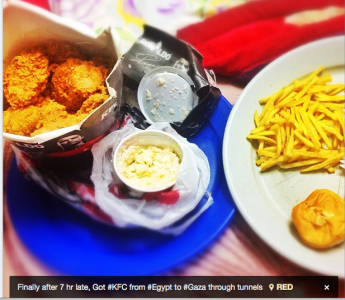 Anas Hamra, from Gaza, claims he got his KFC after a seven hour wait