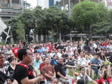 Singaporeans gathered at Hong Lim Park to protest the government's population program. Photo from Facebook of Gilbert Goh