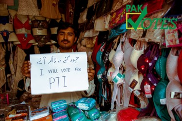 A shopkeeper vows to vote for PTI