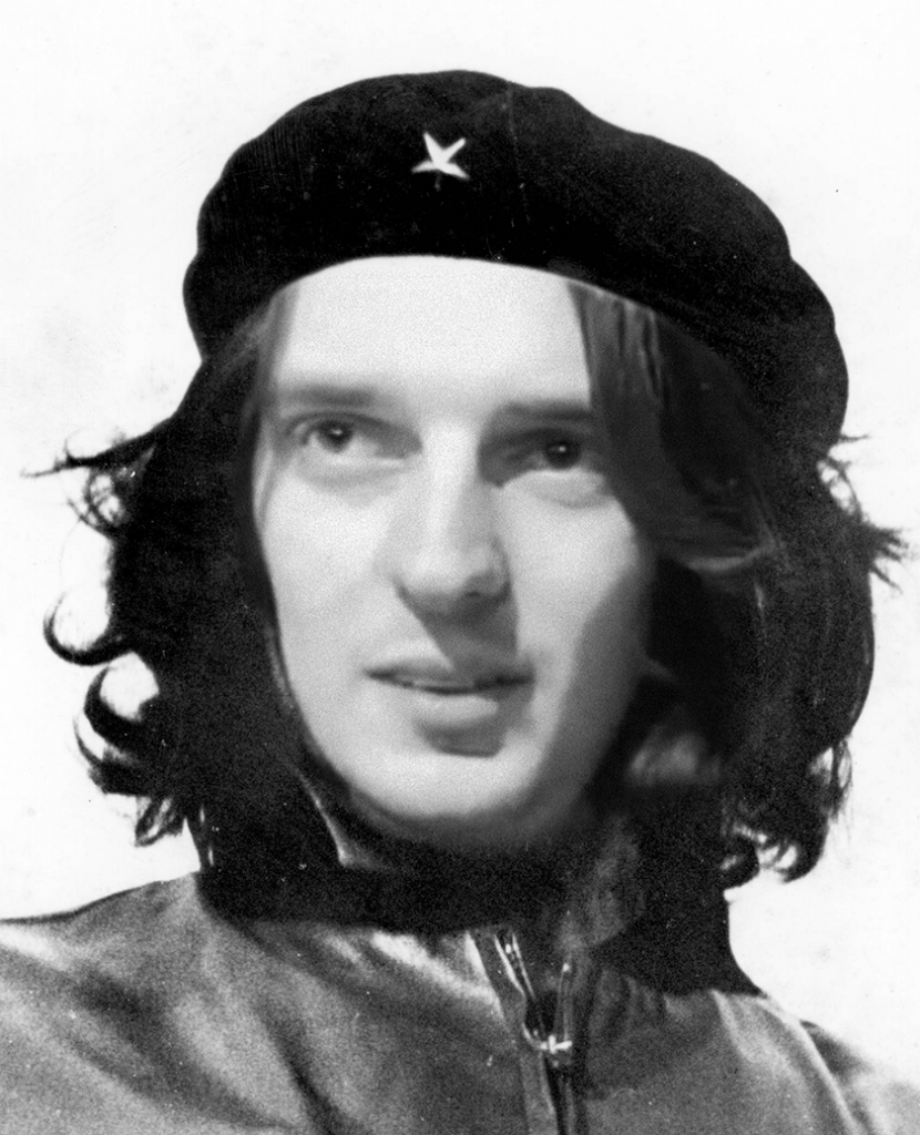 Although Katz's luscious locks and firecracker rhetoric may remind one of Comandante Che, he is no fan of leftist opposition members. Image remixed by author, using YouTube screenshot of Katz and  Che Guevara by Alberto Korda, public domain at Wikimedia Commons.