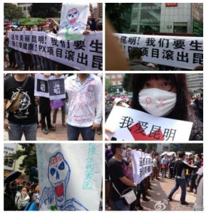 Protesters wore symbolic masks and brandished posters warning against the dangers of a paraxylene (PX) spill.(From Sina Weibo)