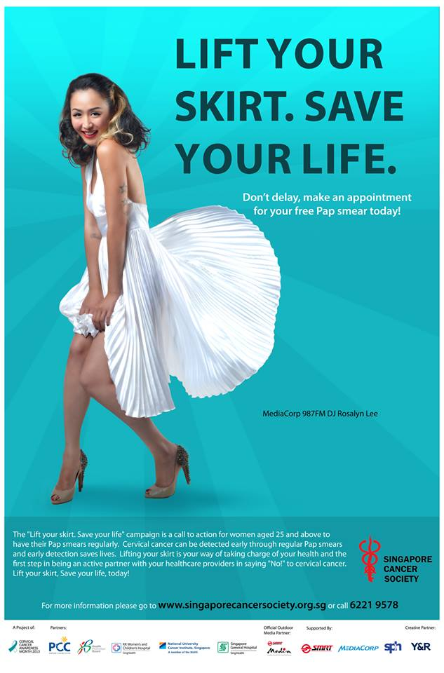 """Lift your skirt. Save a life"" ad to promote awareness on cervical cancer. Image from Facebook page of the Singapore Cancer Society"