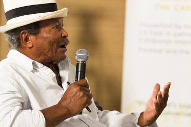 Writer Earl Lovelace at the 2013 Bocas Lit Fest, photo by Maria Nunes, used with permission.