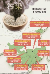 Map of China's rice pollution is widely shared on Weibo. (Image from Weibo)