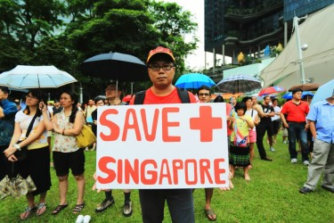 Singaporeans participate in historic Labor Day protest to air their views on the government's population policy paper. Photo from Facebook of Lawrence Chong