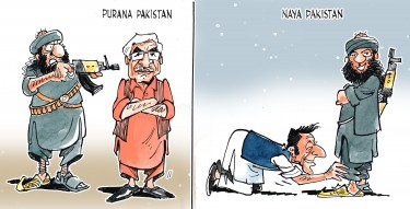 Cartoonist Sabir Nazar draws for PakVotes. It is considered uncool to criticize 'Naya Pakistan' in Pakistan.