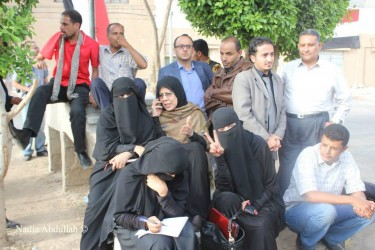 Yemen's Human Rights Minister Hooreya Mashhoor joining the youth activists who went on hunger strike and a sit-in to demand the release dozens of activists held at the central prison compound in Sanaa.