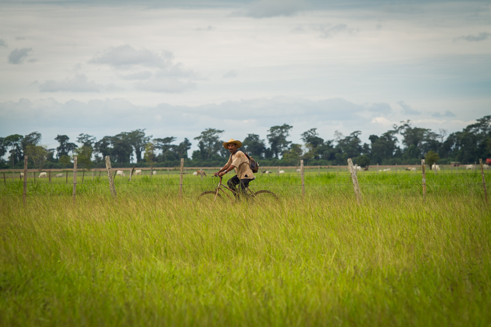 Man rides his bicycle to work in Volendam, Paraguay. Photo by Tetsu Espósito