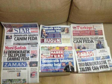Seven Turkish newspaper ran the same headline on the protests. Photograph shared by @ozlemmisler on Twitter