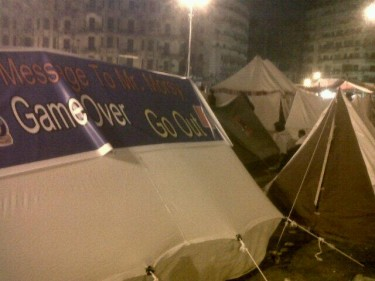 Tents put up at Tahrir Square last night in preparation for today's [June 30] anti-Morsi protests in Egypt. Photograph shared by @JanoCharbel on Twitter