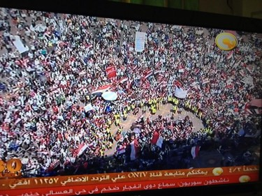 Egyptian protesters gather at Tahrir Square. Photograph shared by @LamiaHassan on Twitter