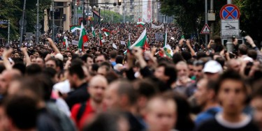 Thousands gather to protests in the streets of Sofia. (Photo used with permission)