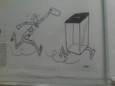 Cartoon about the ever-eluding elections in Midi Madagasikara paper edition posted by @Aline_Tana on twitter