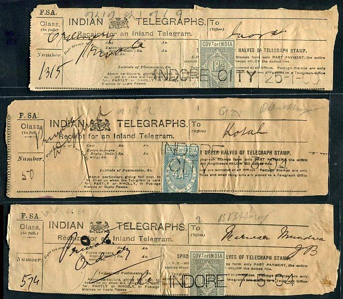 Indian Telegraph receipt dated somewhere around 1900-1904. Image from public domain via Wikimedia Commons.