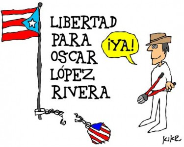 """Freedom for Oscar López Rivera, Now!"" by Kike Estrada. Taken with permission from planetakike.com."