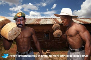 A satirical depiction of General Sejusa and President Museveni by @whatsupafrica. Image source: What's Up Africa Facebook page.
