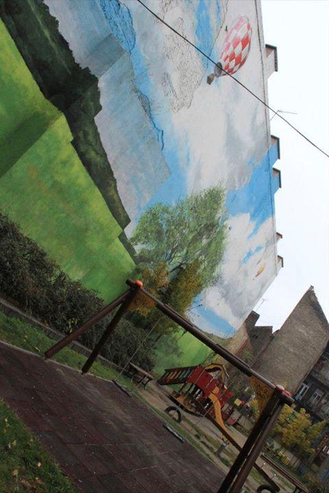 Mural in Budapest playground; photo courtesy of Alternative Budapest.