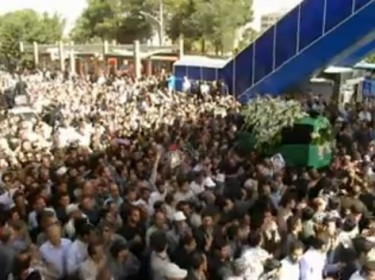 Ayatollah Taheri Esfahani's funeral procession. screenshot from YouTube