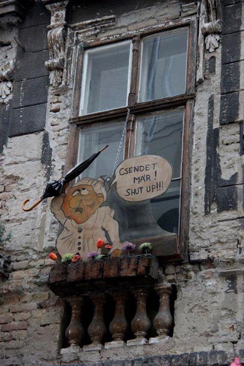 Creative Budapest window art; photo courtesy of Alternative Budapest.