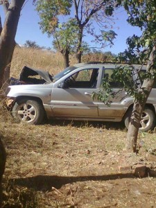 Edward Chindori-Chininga's car after the accident. Photo source: Baba Jukwa Facebook page.
