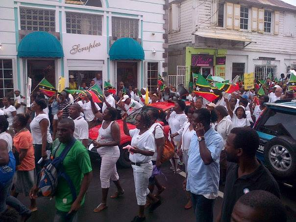 Marching through Basseterre