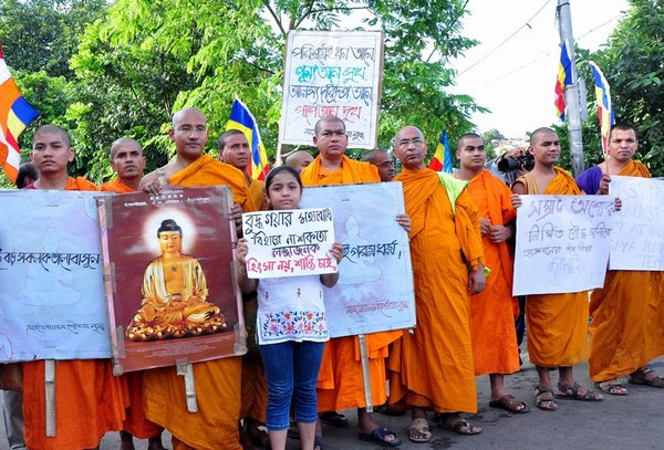 Protest rally of Buddhists in Kolkata. Image by Suman Mitra. Copyright Demotix (7/7/2013)