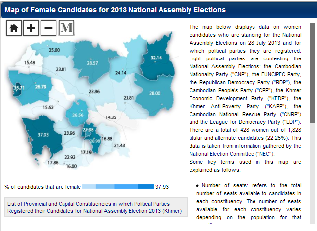 Map of women candidate in 2013 Election in Cambodia