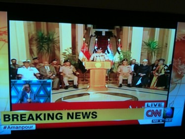 Al Sisi announcing the end of Morsi's rule. Screen grab from CNN International