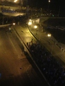 The frontline of clashes on the Nile corniche. Photograph shared by @SherineT on Twitter