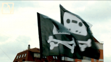 """Pirate"" flags reigned at Moscow's Internet freedom rally. YouTube Screenshot"