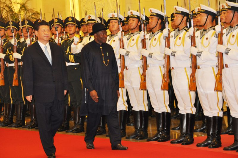 President Goodluck Jonathan (R) inspecting guard of honour mounted by the Chinese military during his official welcoming in Beijing, China on Wednesday, July 10, 2013 (Photo credit: from Reubenabati.com)
