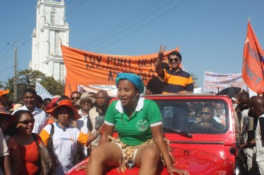 Rajoelina campaigning in the Mahajanga, Madagascar,  July 2013. Image posted on Facebook by Patrick Raharimanana with permission.