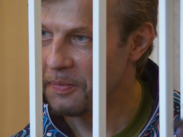 Evgeny Urlashov at arraignment, Yaroslavl, Russia, 4 July 2013, screenshot from YouTube.