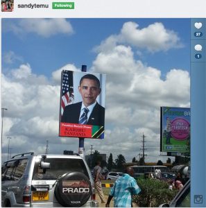 Image of President Barack Obama on a billboard in Dar Es Salaam. Photo courtesy of Sandy Temu.
