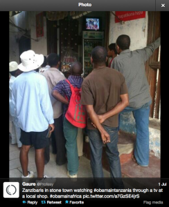 Zanzibaris watching Obama's visit on local television station. Photo courtesy of